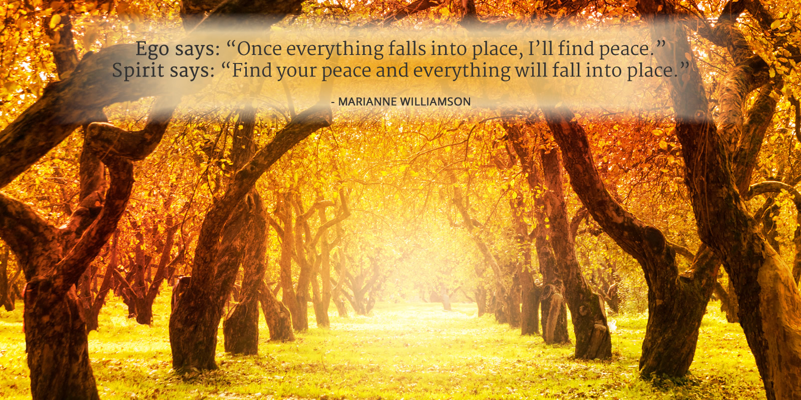 Ego says: Once everything falls into place, I'll find peace. Spirit says: Find your peace and everything will fall into place. - Marianne Williamson